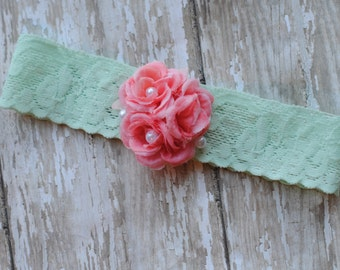 Baby Headbands, Baby Lace Headbands Mint and Three Coral Shabby Chic White Vintage Pearl Headband Photography Prop Hair Accessories