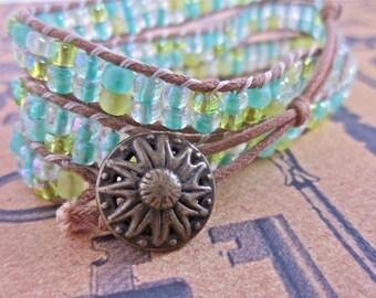 Spring Meadows Seed Bead Triple Wrap Bracelet