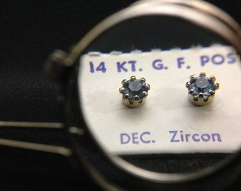 1960's 14Kt GF Post Birthstone Earrings - DECEMBER