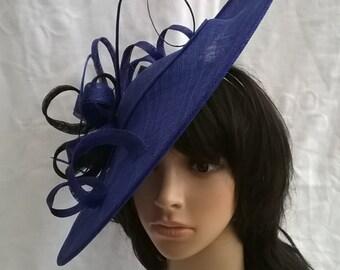 Sapphire Blue Fascinator..Stunning  Sinamay Fascinator Hat on a Headband..Hatinator