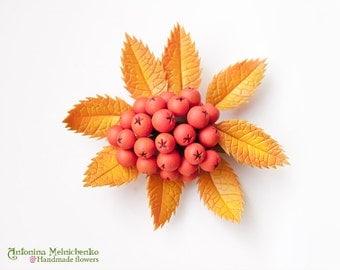 Brooch Rowan Berries - Polymer Clay Flowers