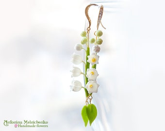 Earrings Lily of the valley - Polymer Clay Flowers