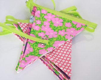Neon Green Pink Purple Retro Floral fabric Bunting/Banner - 11 Feet 12 Flags