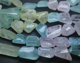 8 Inches Strand,Finest Quality Aquamarine Faceted Nuggets,14-18mm Large