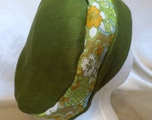 307 Olive Green with Orange Flower 100% Linen Turban Snood Cap Head Cover
