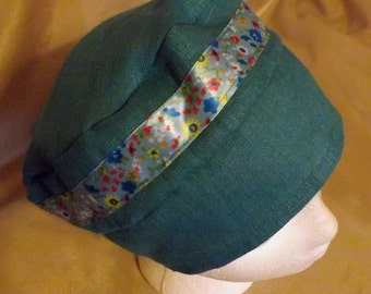 321 Ceramic Blue with Matching Ribbon 100% Linen Turban Snood Cap Head Cover