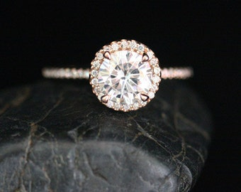 Rose Gold Forever Classic Moissanite Engagement Ring Round 7mm and Diamonds Single Halo Ring (Also Available in White Gold)