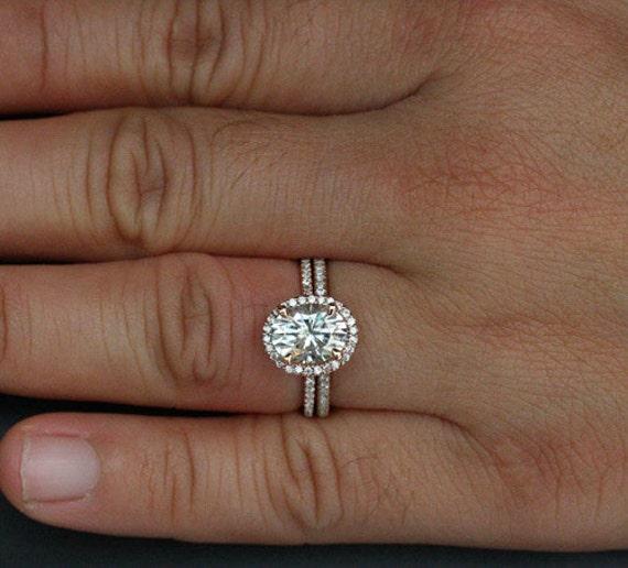 Rose Gold Moissanite Ring Bridal Set 14k Forever Classic