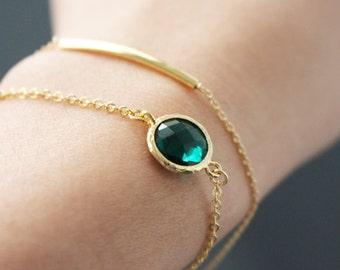 Gold framed green crystal bracelet // Green crystal bracelet