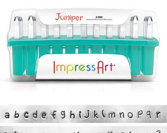 ImpressArt Juniper Lowercase Metal Letter Stamp Set- 3MM- Steel Stamps- Juniper Font Metal Letter Set- SGSC1320-3MM