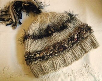 Hand knit wool hat for women or girls.  Woodland Hat.