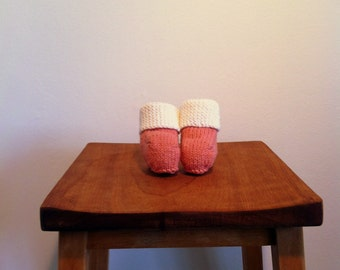 BEAU // Knitted Cotton Booties with Folded Cuff in Brilliant White and Salmon Pink