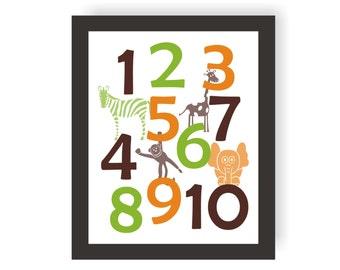 Safari Numbers Nursery Art - CHOOSE COLORS - Baby Zoo Animals, Jungle Nursery, Gender Neutral Nursery, Baby Shower Gift, Playroom wall Art