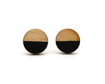 Tiny wood studs, black and wood earrings, round studs