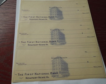Vintage Checks.  1930s The First National Bank, Newport News, Virginia