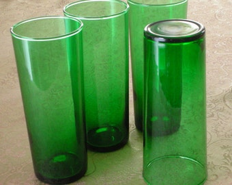 Set of 4 Forest Green Glasses from Anchor Hocking