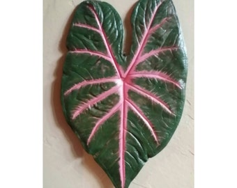 Caladium Leaf Wall Hanging - Pink Blaze - Cement Leaf Casting