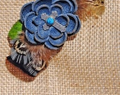 Hair Barrette -  Leather Flower and Gamebird Feather, FREE US SHIPPING
