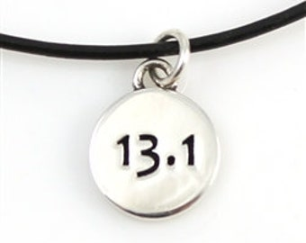 Half Marathon Necklace with Sterling Silver 13.1 Stamped Charm, Leather Necklace with Marathon Pendant for Runners, Unique Running Necklace