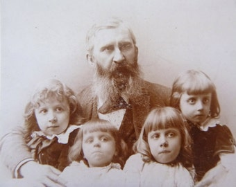 Antique Family Photo -- Frederic Photography Waynesboro PA -- Small Children with Older Man
