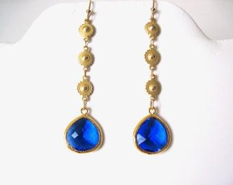 Saphire blue & gold dangle earrings. great summer earrings
