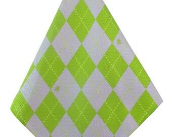Lime-Pink Argyle Print Microfiber Golf Towel Women's Golf Gifts