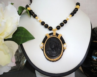Cameo pendant, beadwork necklace, black stone necklace,  black gold beaded, gold statement necklace, unique necklace for women,