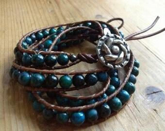 Carribean Queen Beaded Leather Wrap Bracelet