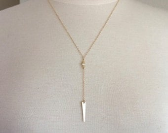 14k Gold Filled CZ Necklace, Gold Chain Necklace, Dainty Necklace, Spear Necklace