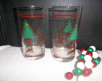 SALE! was 5.00 Vintage Christmas Glasses, Reindeer and Trees Set of Two, NV Brazil, S