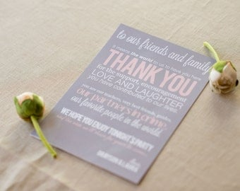 Wedding Thank You Card - Printable File - Wedding Thank You Sign