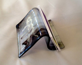Fused Glass Business Card Holder Iridescent