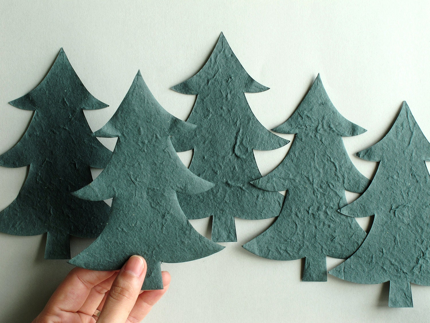 10 Die Cut Christmas Trees Green Paper Pine Trees Made Of