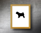 Shar Pei Silhouette Art 8x10 - UNFRAMED Hand Cut Shar Pei Print - Personalized Name or Text Optional
