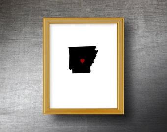 Arkansas Art 8x10 - UNFRAMED Hand Cut Silhouette - Arkansas Print - Arkansas Wedding Gift - Personalized Name or Text Optional