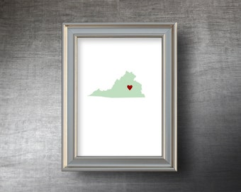 Virginia Map Art 5x7 - 4 Color Choices - UNFRAMED Hand Cut Silhouette - Virginia Print - Personalized Name or Text Optional