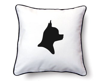 Chihuahua Pillow 18x18 - Chihuahua Silhouette Pillow - Personalized Name or Text Optional