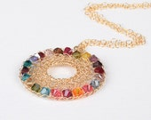 Colorful Rainbow Swarovski Statement crochet Necklace 14K Gold-filled wire Pendant