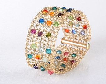 Multicolor Swarovski Crystals Bracelet, Cuff Bracelet, Gold Filled Wire, Gold Bracelet, Colorful Statement Bracelet, Handmade Cuff Bracelet