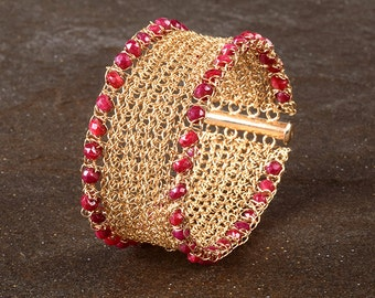Ruby Cuff Brecelet, crochet 14K gold filled wire, July Birthstone ,ruby bracelet,  ruby and gold, Precious Stone