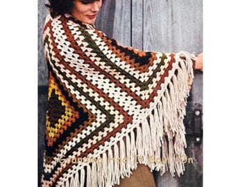 Vintage Crochet Poncho Pattern - Shawl Afghan - PDF Instant Download - Coat Jacket - Vintage Granny Square Cloak Wrap - Blanket Fringe Wrap