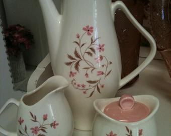 Vintage Steubenville Tea Set- Coffee/Tea Pot, Covered Sugar Bowl, Creamer-Pink Flowers -Made in USA