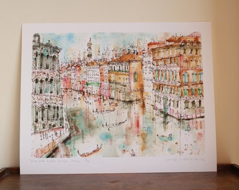 View from Rialto Bridge Venice Watercolor Painting, Grand Canal Art, Signed limited edition Giclee Print Clare Caulfield