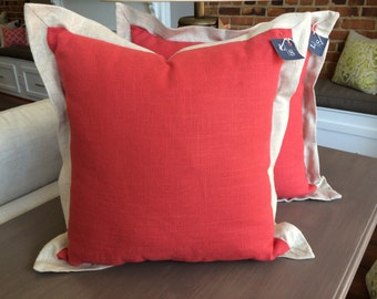 Red Linen Pillow with Natural Linen Flange Border