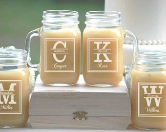 9 Personalized Beer Mug, Engraved Mason Jar Glasses with Handle, Monogrammed Wedding Party Gifts, Glassware