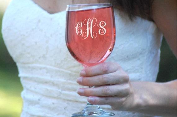 10 Personalized Wine Glasses, Bridesmaid Wine Glasses, Gift for Bridesmaids, Etched Wine Glasses, Custom Wine Glass, Wedding Wine Glasses