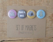 Set of Outdoor Magnets. Outdoor Love. Camping Magnets. Hiking Magnets. Mountain Magnets. Fridge Magnets.