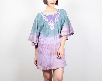 Vintage Blue Purple Caftan Tie Dye Dress Mini Dress 1970s Dress Hippie Dress Embroidered Ethnic Batwing Sleeve Dress 70s Kaftan M L Large XL