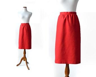 Red Skirt / Large Skirt / Pencil Skirt /  Pencil Skirt / Vintage 80s / Women Bottom Skirts / Vintage  Clothing Skirts