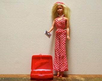 1970s Malibu Barbie Twist 'N Turn in 7813 Red and White Polka Dot Top and Pants